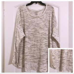 Lane Bryant Heather White Grey Knit Plus Size Top